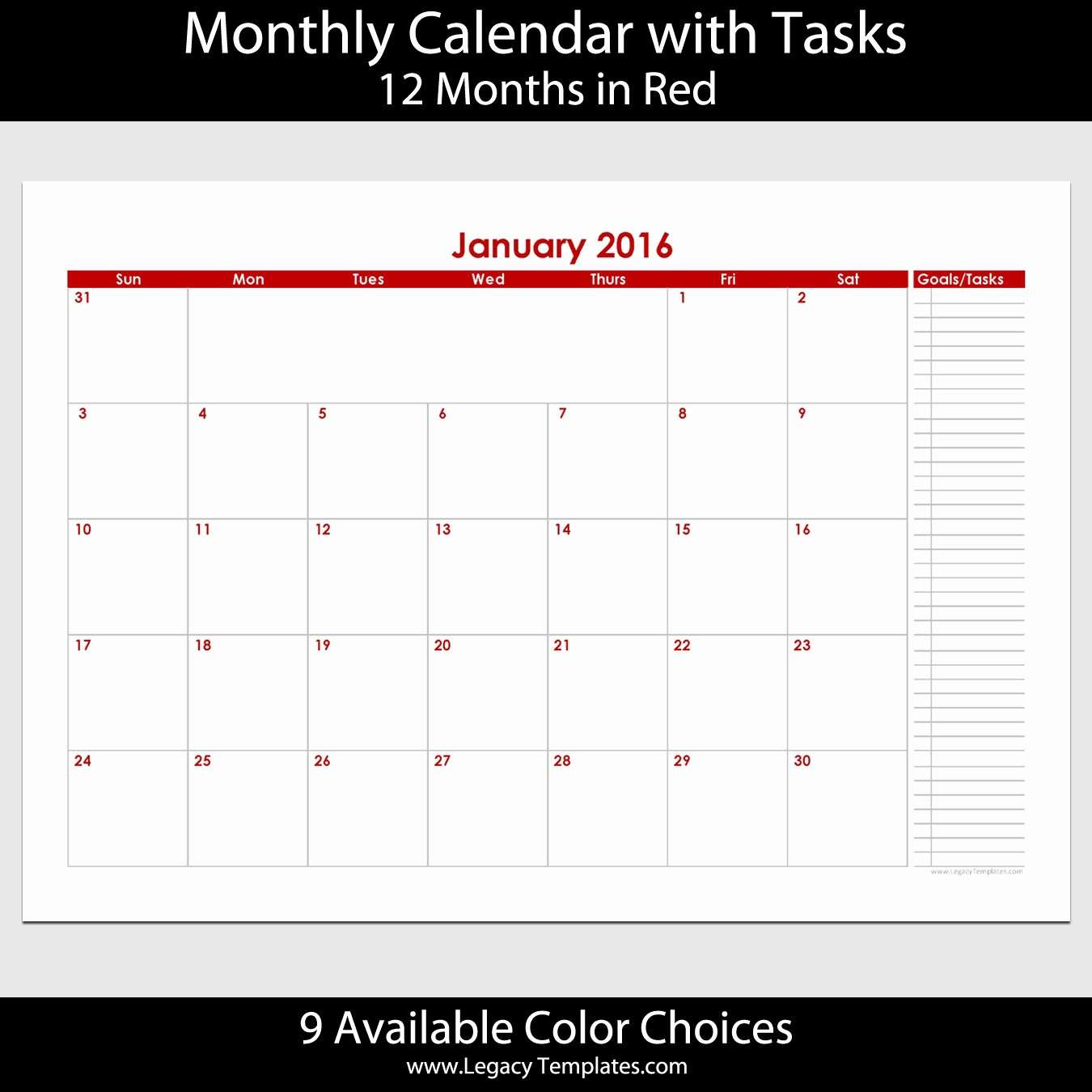 12 Month Calendar for 2016 New 2016 12 Month Landscape Calendar with Tasks – A5