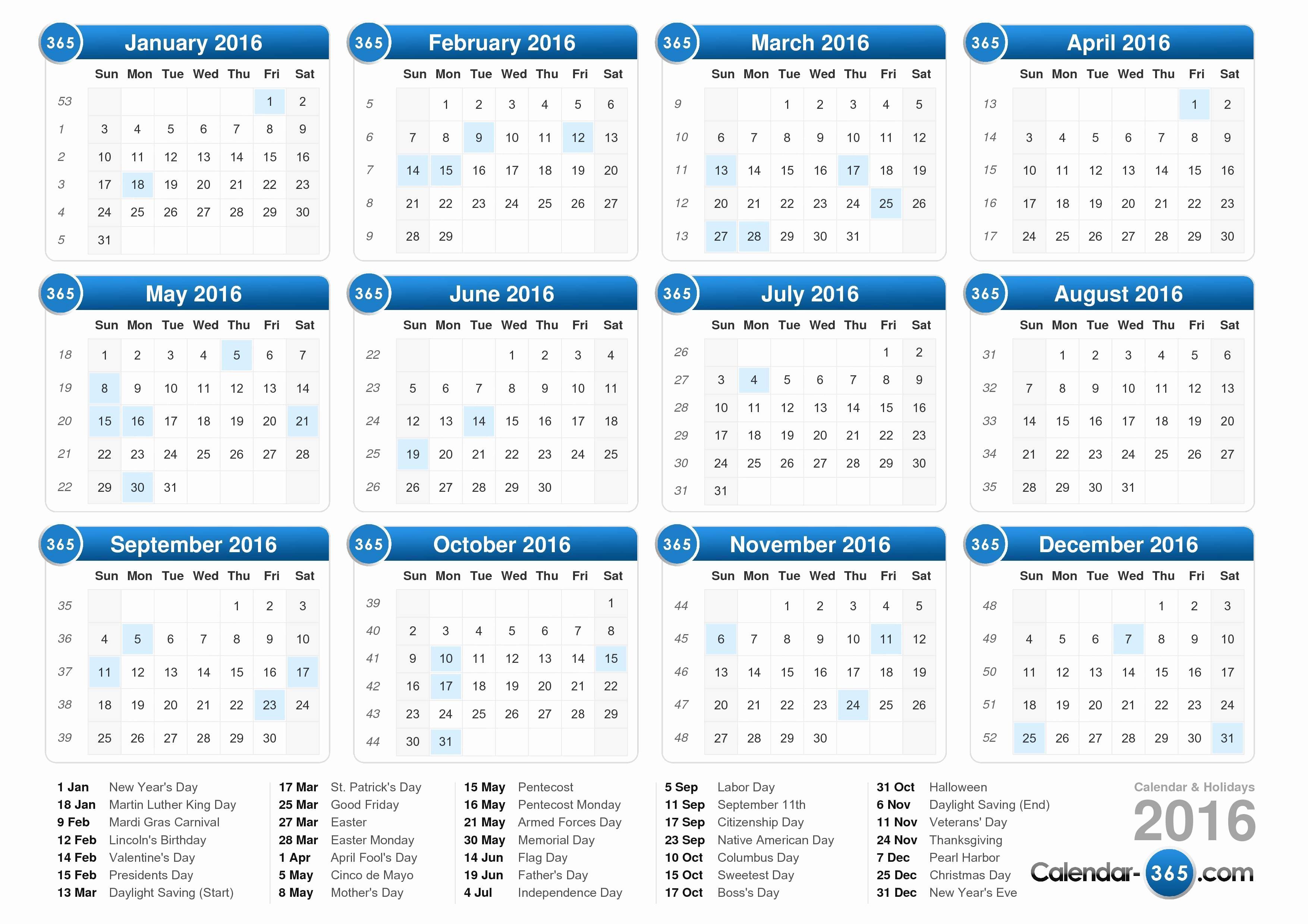 12 Month Calendar for 2016 New 2016 Calendar