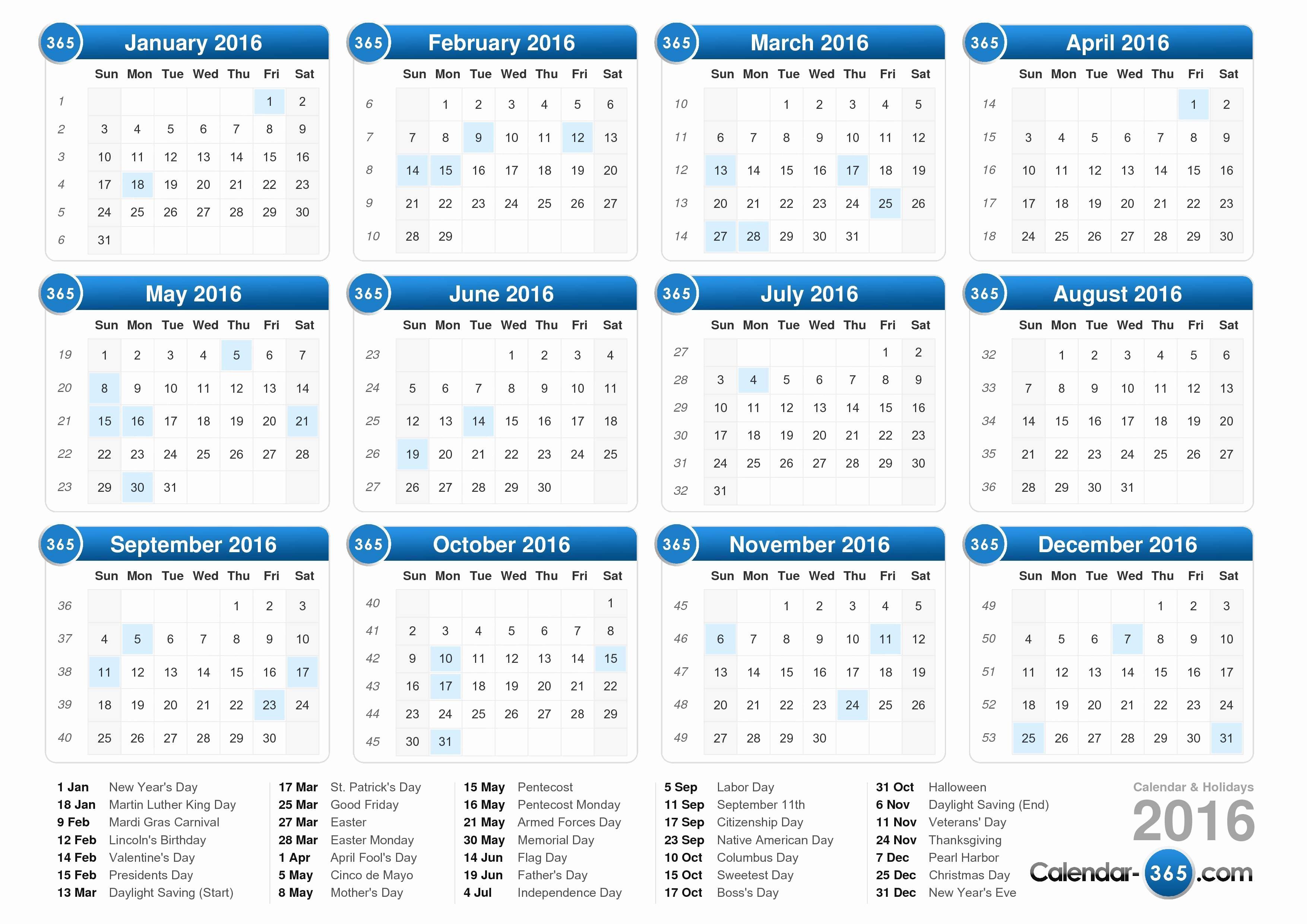 12 Month Calendar for 2016 New Calendar with Holidays 2016