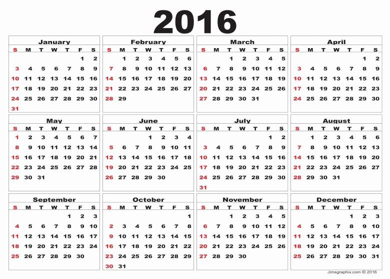 12 Month Calendar for 2016 Unique 12 Month Blank 2016 Calendar Free Calendar Template