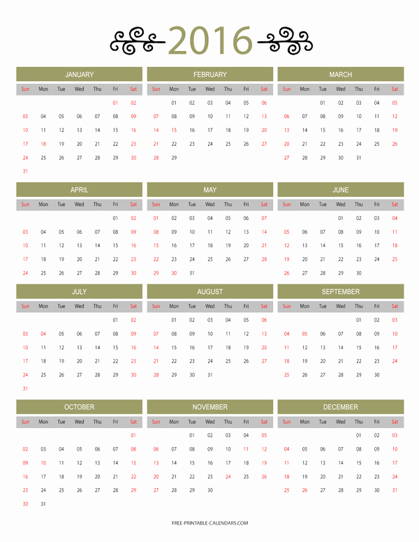 12 Month Calendar for 2016 Unique 12 Month Colorful Calendar for 2016 Free Printable Calendars