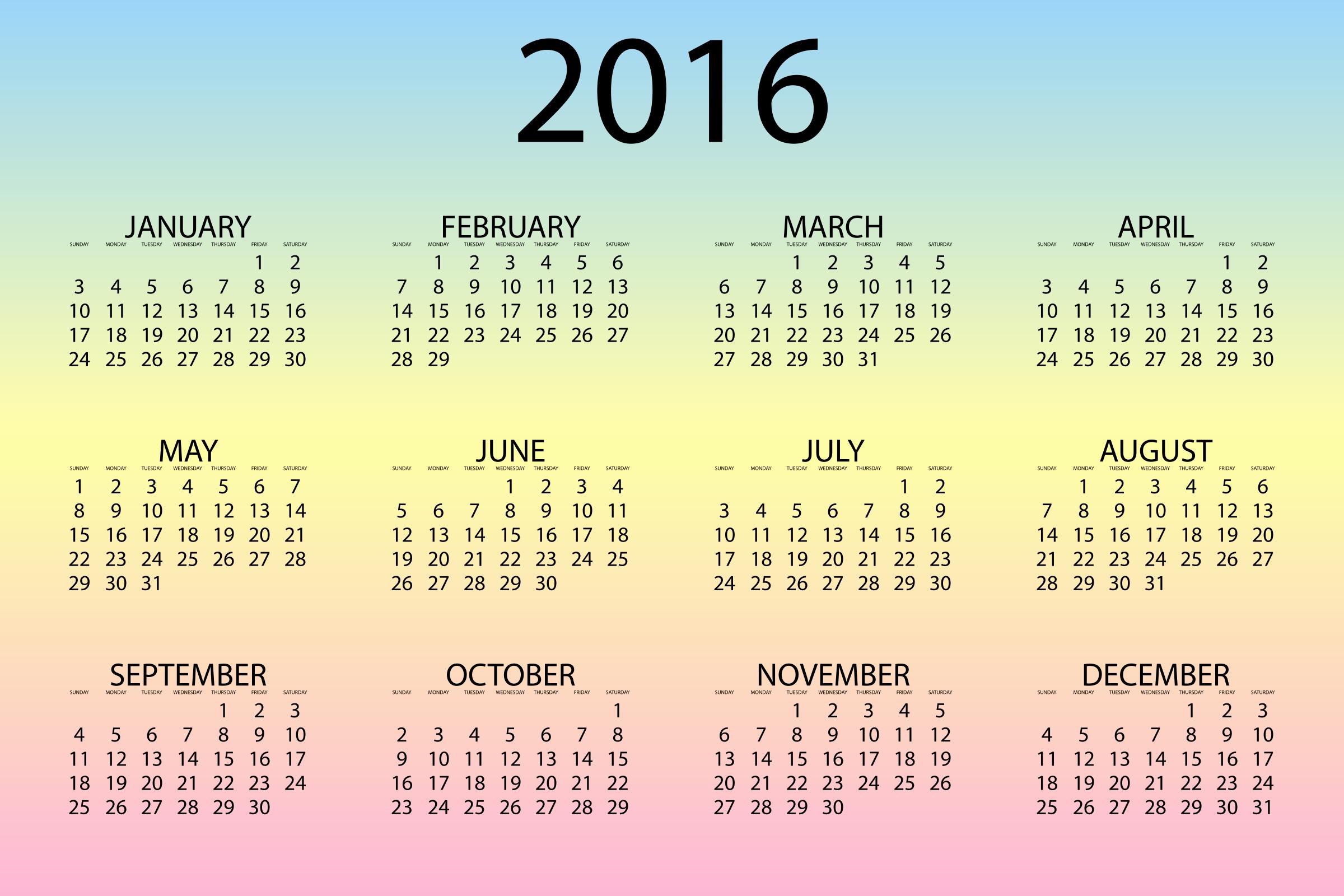 12 Month Calendar for 2016 Unique 2016 Calendar