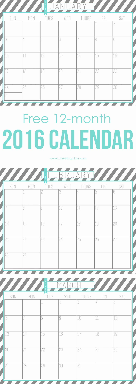 12 Month Calendar for 2016 Unique 2016 Free Printable Calendar I Heart Nap Time