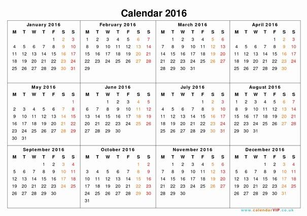 12 Month Calendar for 2016 Unique Calendar 2016 by Month to Print Calendar Month 12 12 Month