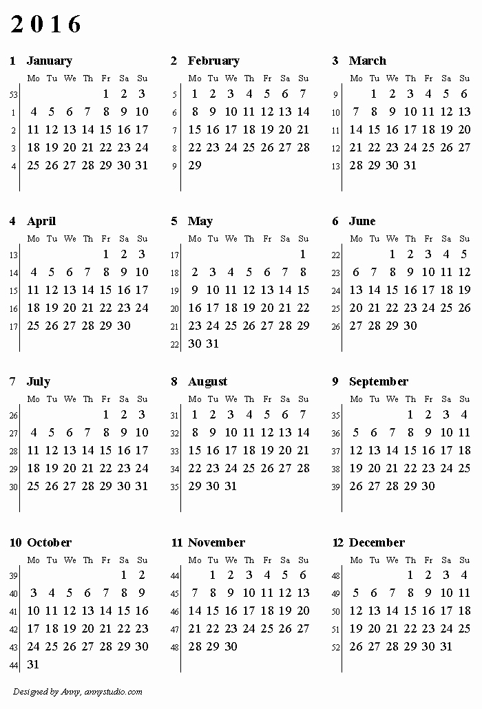 12 Month Calendar for 2016 Unique Free Printable Calendars and Planners 2019 2020 2021
