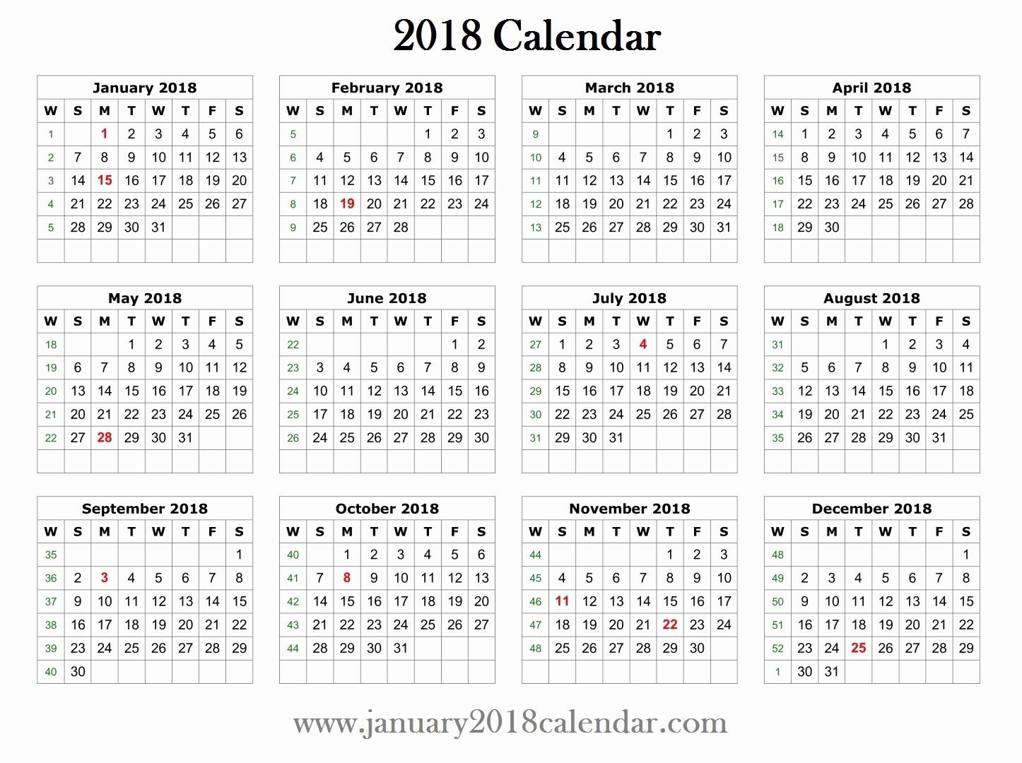 12 Month Calendar Template Word Beautiful 2018 Printable Word Calendar Template