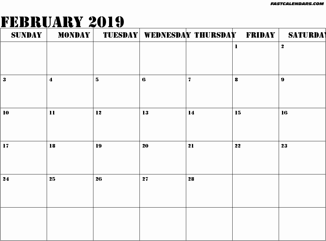 12 Month Calendar Template Word Beautiful February 2019 Calendar Template
