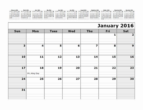 12 Month Calendar Template Word Best Of 21 Free Calendar Template 2016 2017 2018 for Word and Excel