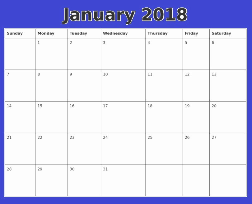 12 Month Calendar Template Word Elegant January 2018 Calendar Word Document