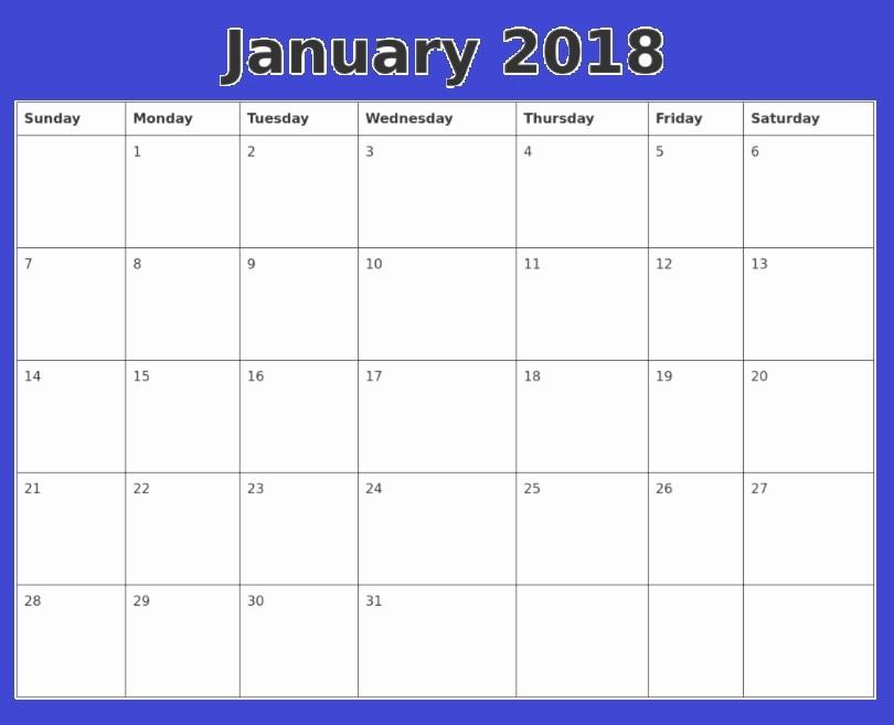 12 Month Calendar Template Word Elegant January 2018 Calendar Word Document