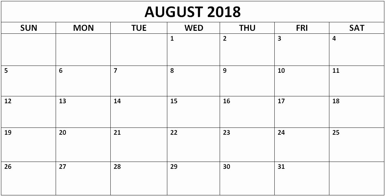 12 Month Calendar Template Word Inspirational August 2018 Calendar Template