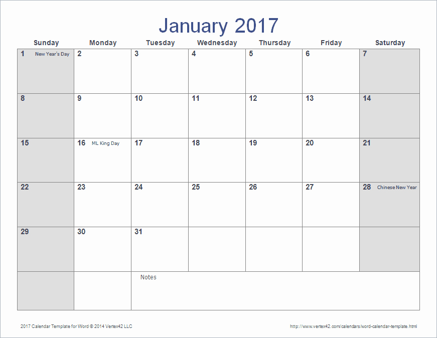 12 Month Calendar Template Word Inspirational Word Calendar Template for 2016 2017 and Beyond