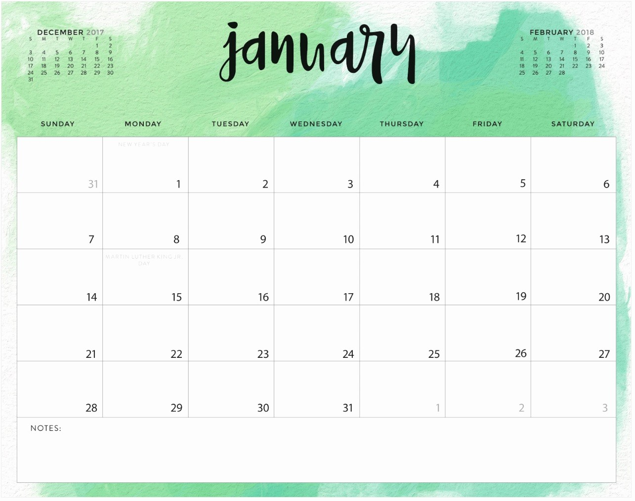 january 2018 printable calendar word
