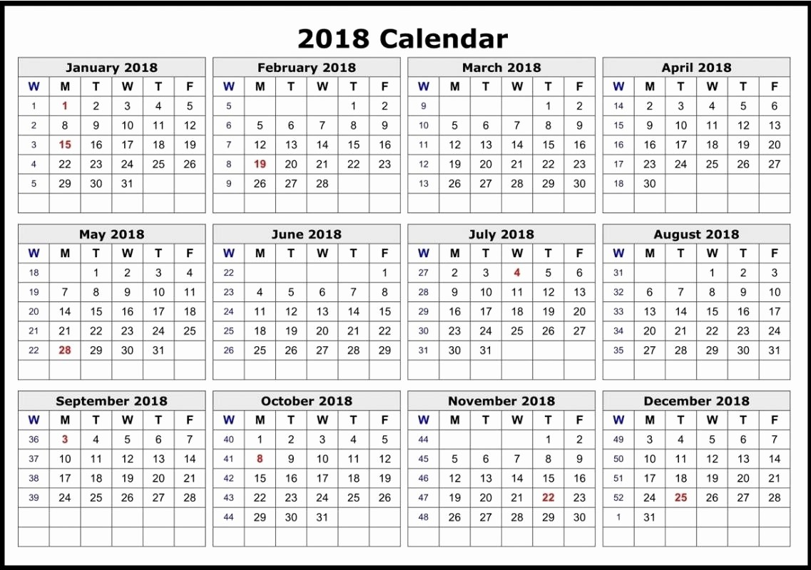 12 Month Calendar Template Word Luxury 2018 12 Month Calendar Template for Word – Template