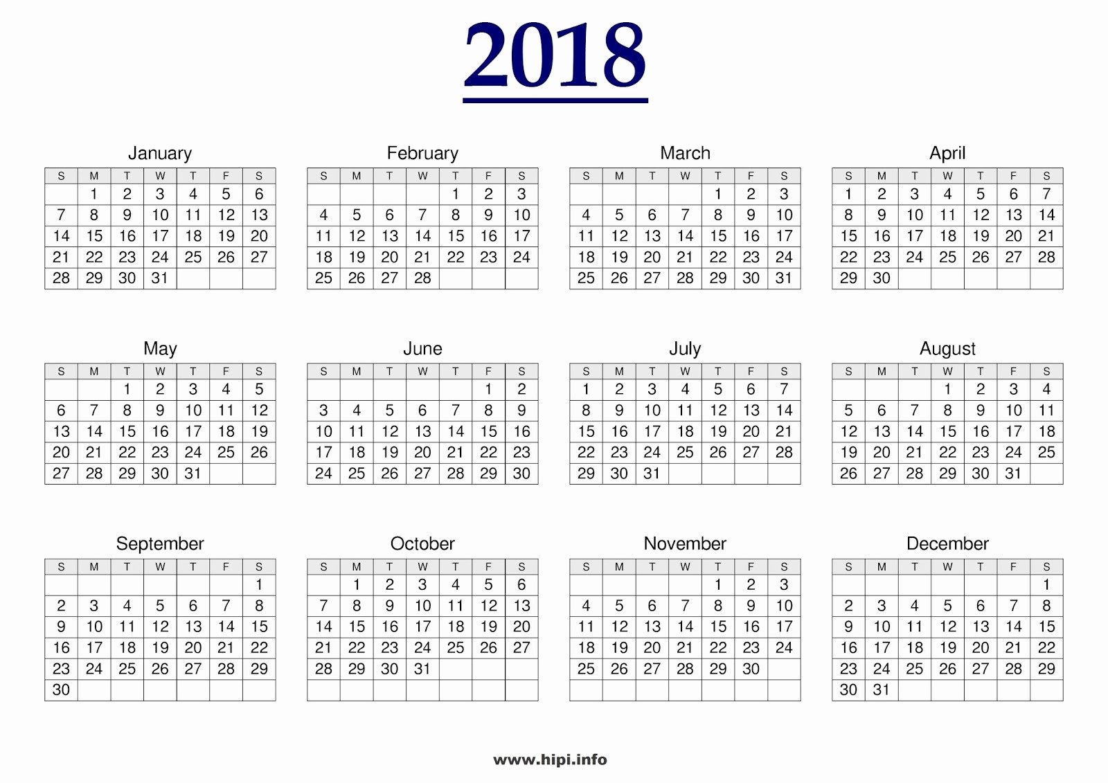 12 Month Calendar Template Word Unique Monthly & Yearly 2018 Calendar Printable