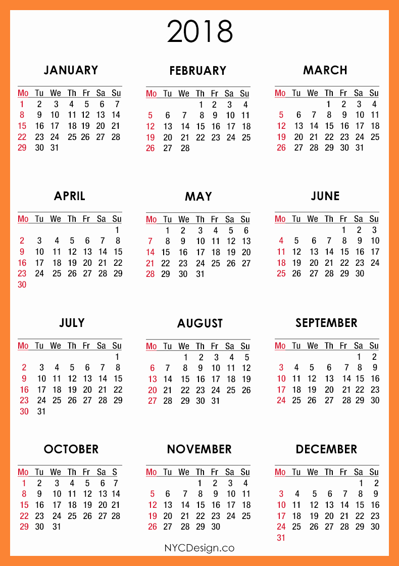 12 Month Printable Calendar 2018 Awesome 12 Month Calendar to Print 2018