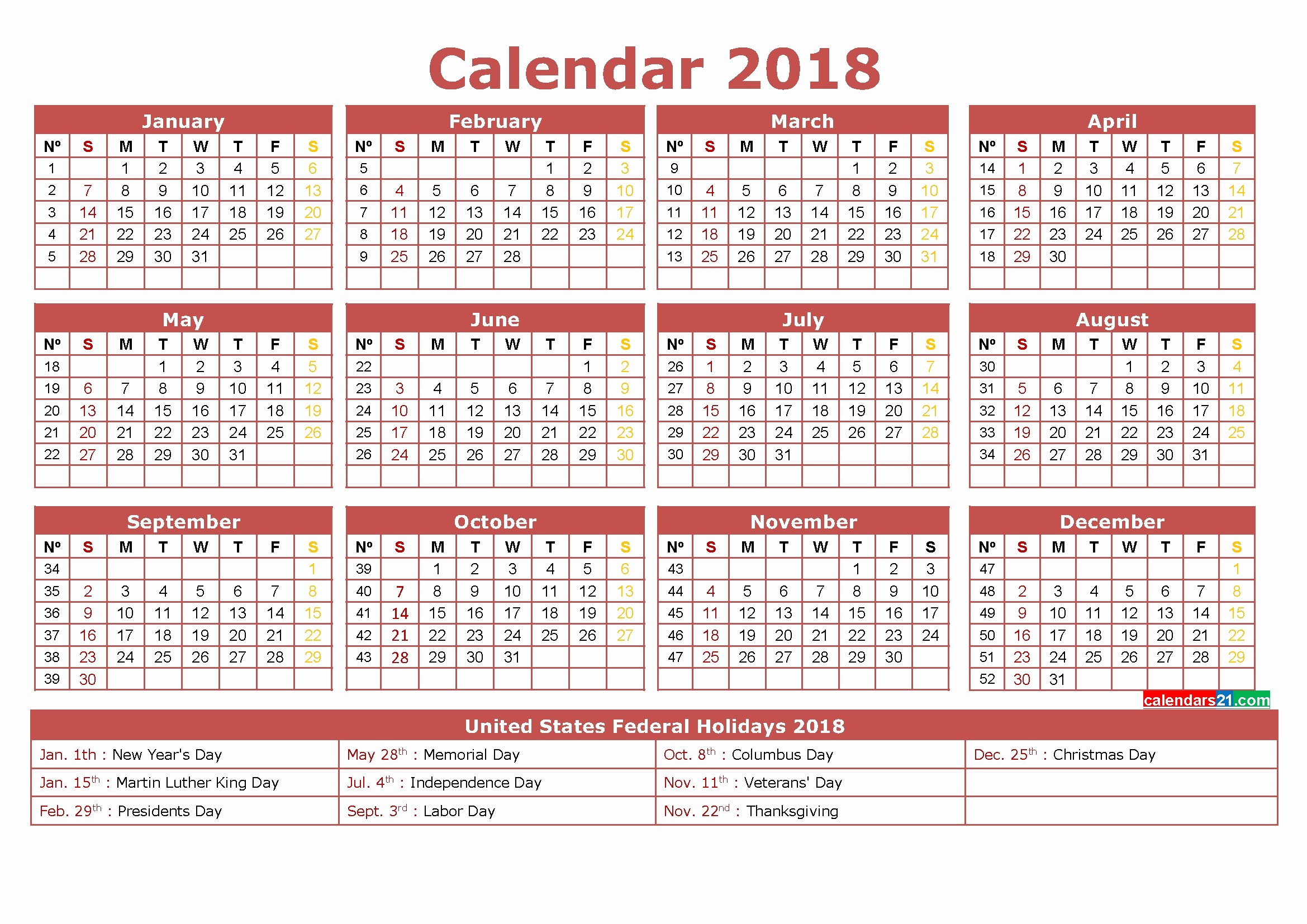 12 Month Printable Calendar 2018 Awesome 12 Month Printable Calendar 2018 One Page – Template