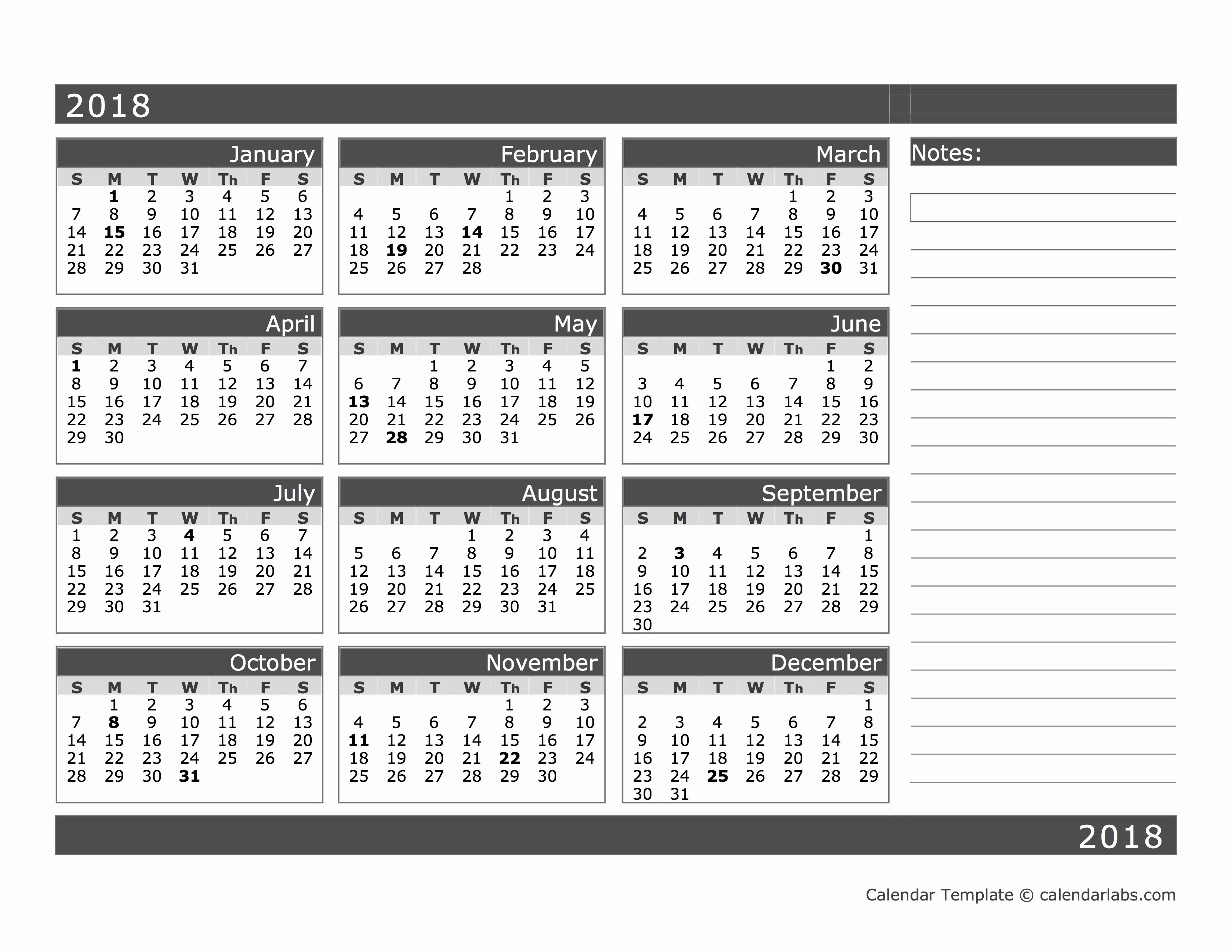 12 Month Printable Calendar 2018 Awesome 2018 Blank 12 Month Calendar In E Page Free Printable
