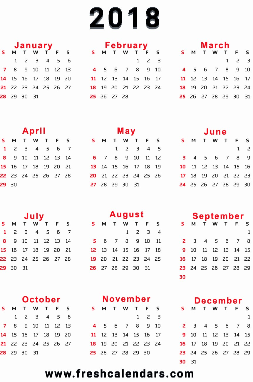 12 Month Printable Calendar 2018 Awesome 2018 Calendar