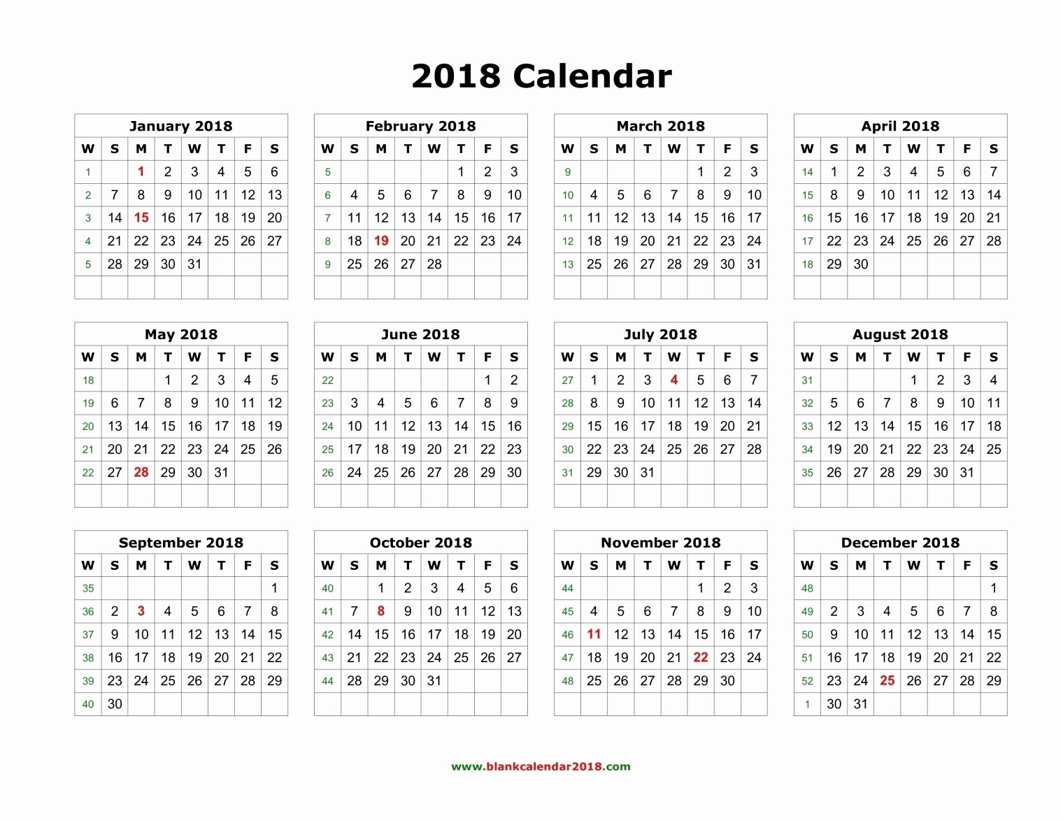 printable twelve month calendar 2018 two months per page