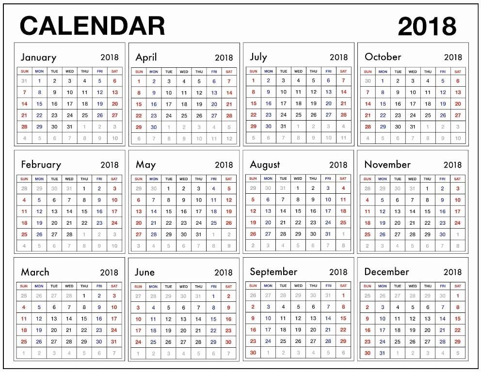 12 Month Printable Calendar 2018 Beautiful 12 Month Calendar 2018 Pdf 2018 Calendars