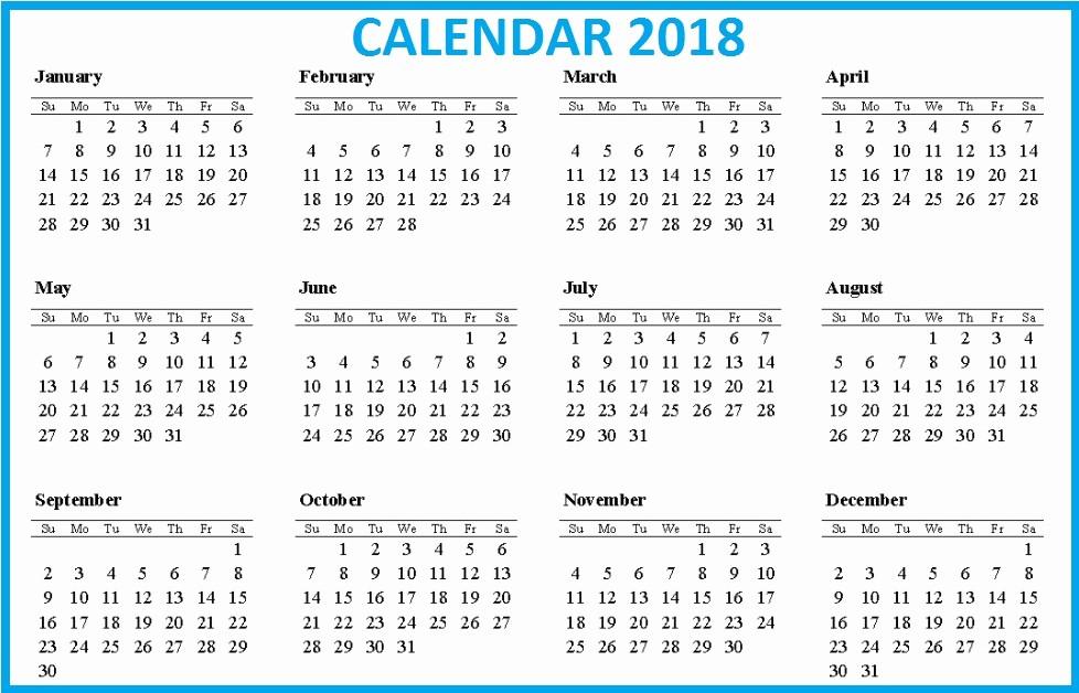 12 Month Printable Calendar 2018 Beautiful Download 12 Month Printable Calendar 2018 From January to