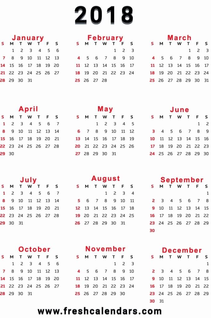 12 Month Printable Calendar 2018 Elegant Download 12 Month Calendar Template 2018