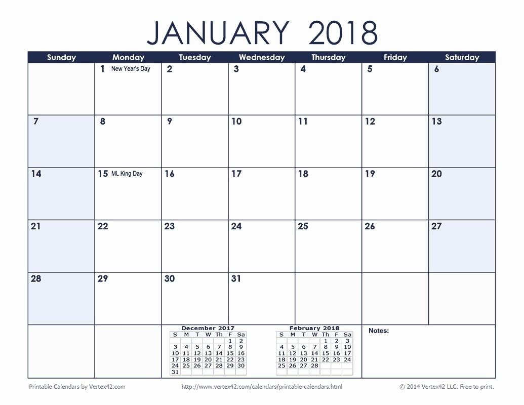 12 Month Printable Calendar 2018 Fresh 12 Month 2018 Monthly Calendar Template Printable