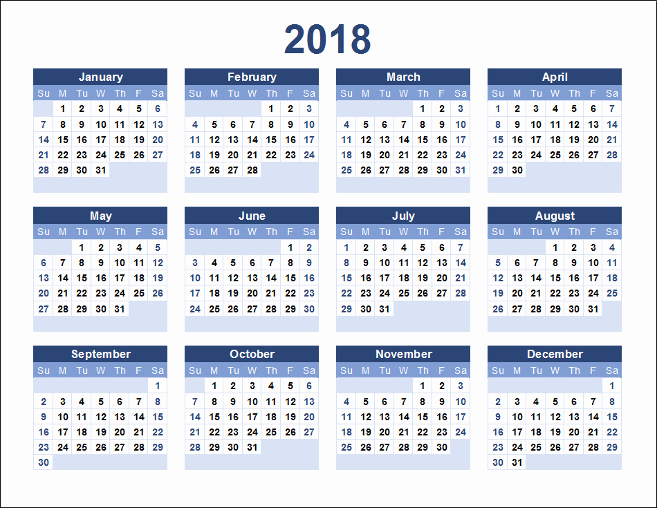 12 Month Printable Calendar 2018 Fresh 12 Month Calendar 2018 On E Page Twelve Month Printable