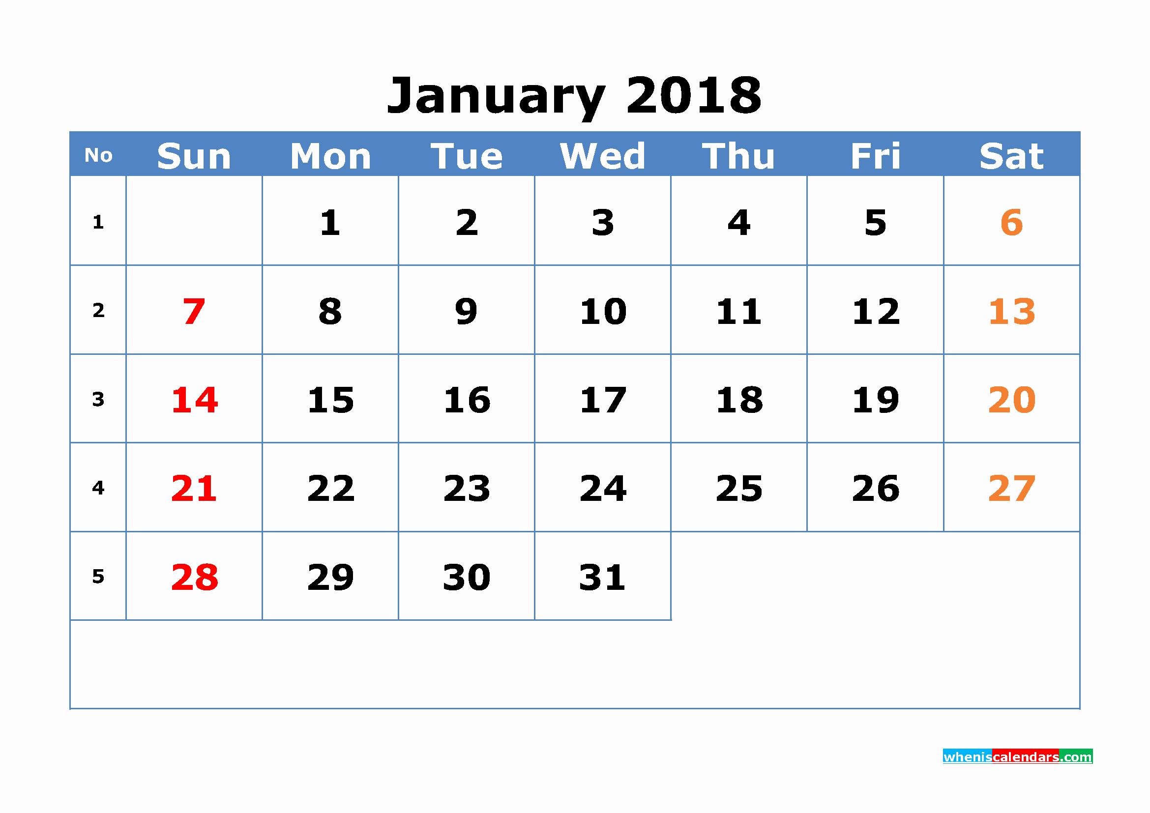 12 Month Printable Calendar 2018 Fresh 12 Month Calendar 2018 with Week Numbers Printable Pdf