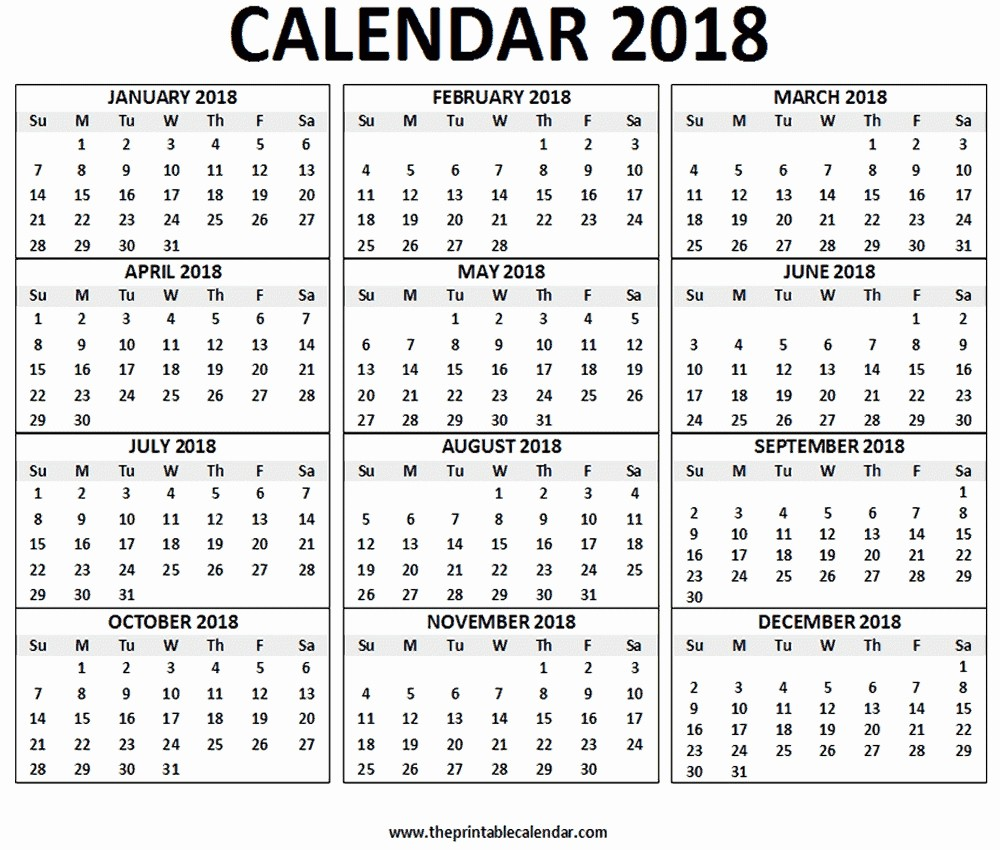 12 Month Printable Calendar 2018 Inspirational Calendar All 12 Month 2018 Template – Calendar Printable