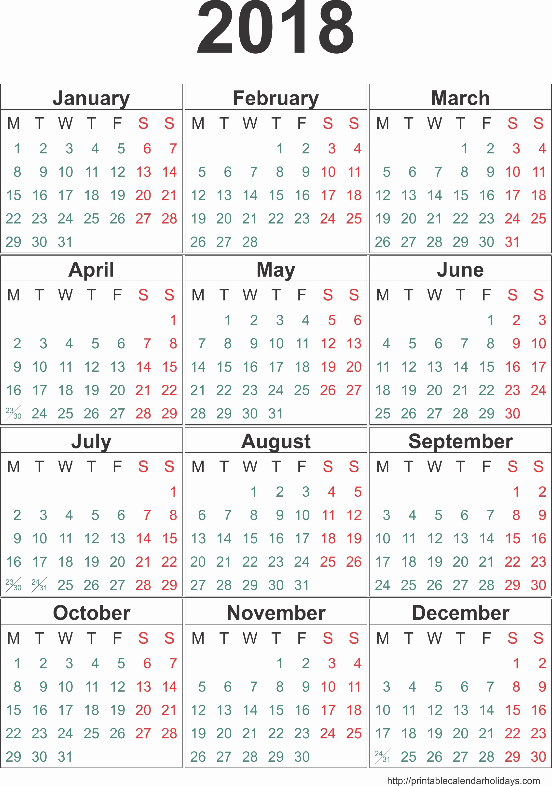 12 Month Printable Calendar 2018 Inspirational Pin by Printable Free On 2018 Yearly Calendar