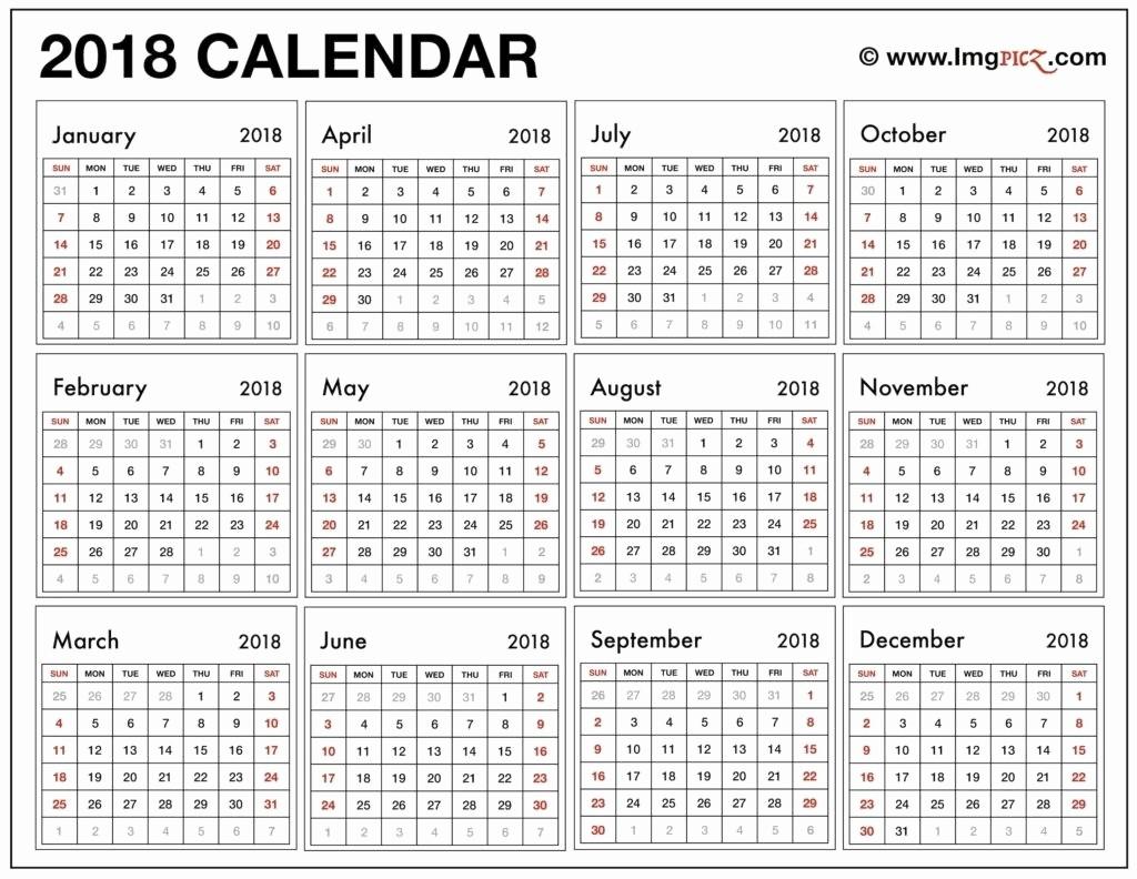 12 Month Printable Calendar 2018 Lovely 12 Month Calendar Print Out 2018 – Template Calendar Design