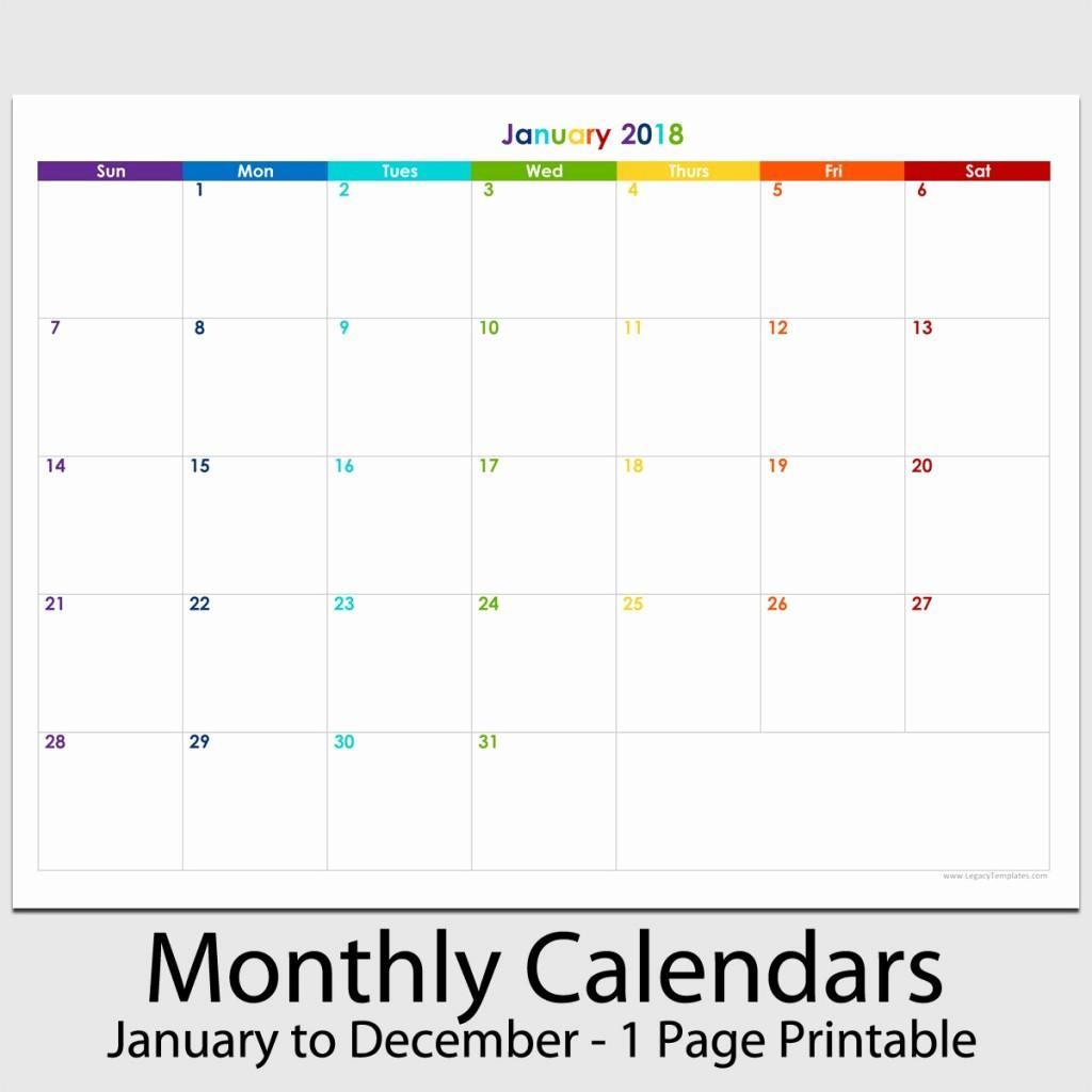 "12 Month Printable Calendar 2018 Lovely 2018 12 Month Landscape Calendar 8 1 2"" X 11"""