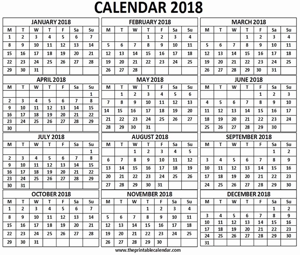 12 Month Printable Calendar 2018 Luxury 12 Month Printable Calendar 2018 One Page – Template