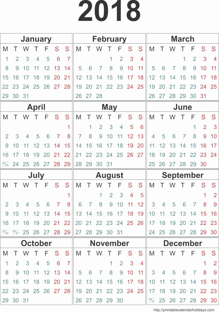 12 Month Printable Calendar 2018 Luxury Calendar 2018 Template 12 Months Page Printable 2017