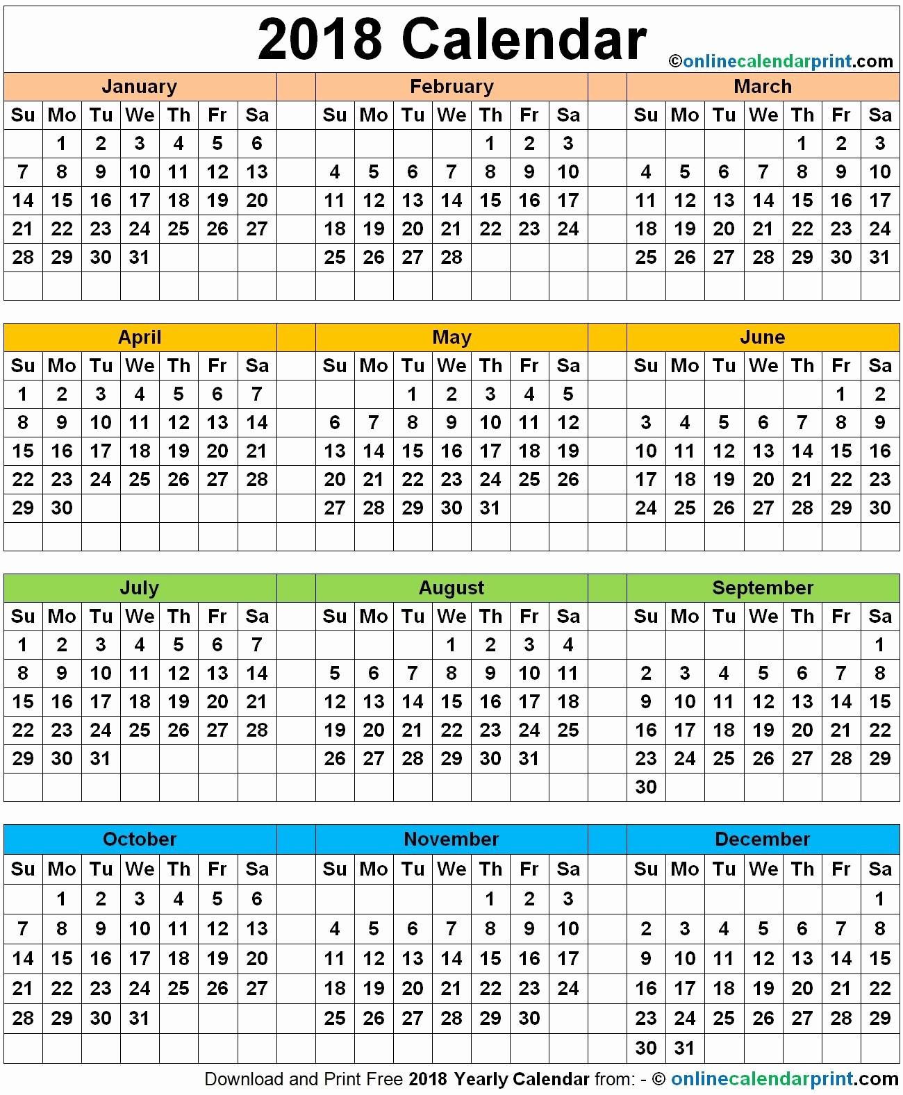 12 Month Printable Calendar 2018 New 12 Month 2018 Calendar Printable Full Page – Calendar