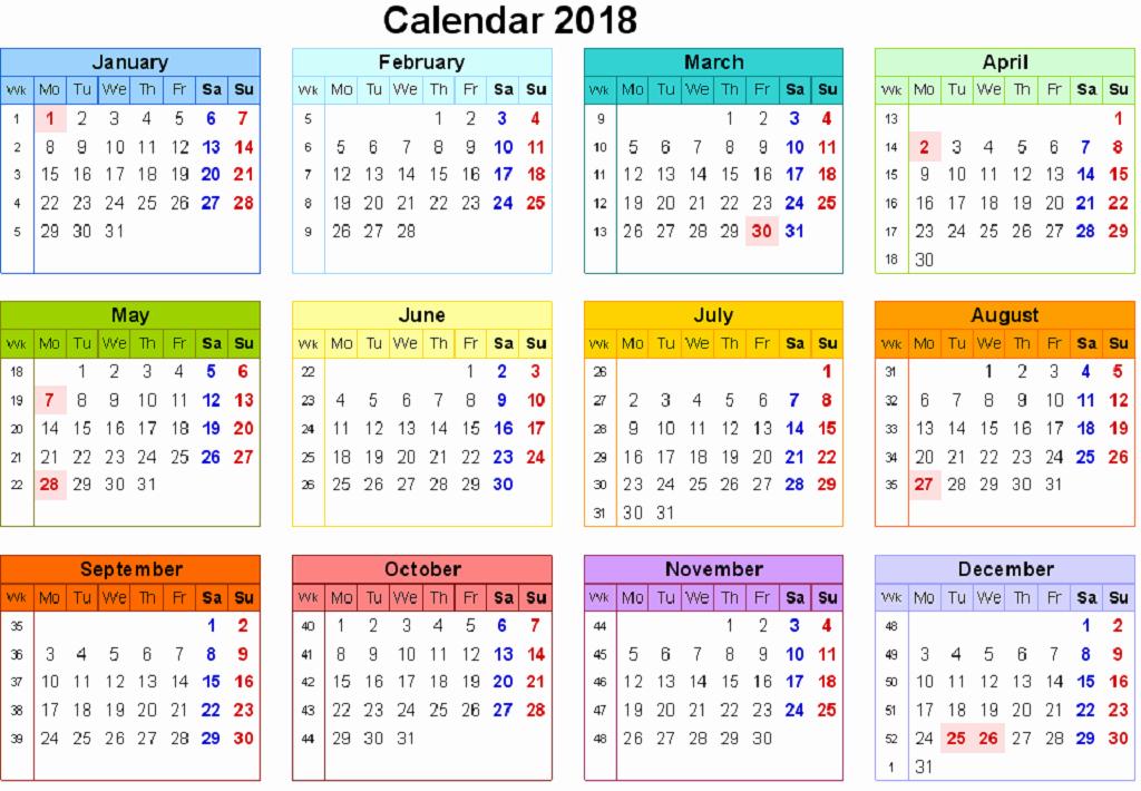 12 Month Printable Calendar 2018 New 12 Month Calendar 2018 On E Page Twelve Month Printable
