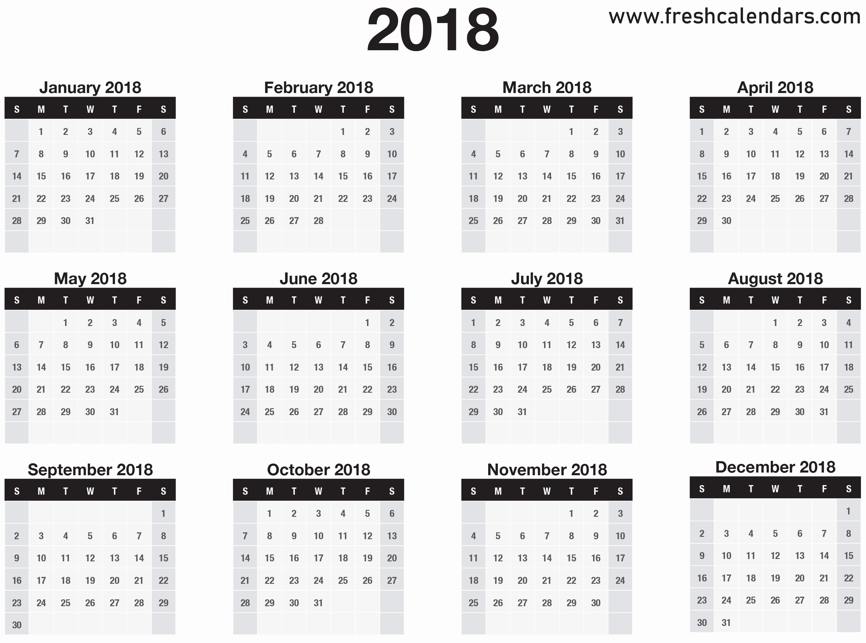 12 Month Printable Calendar 2018 New 2018 Calendar