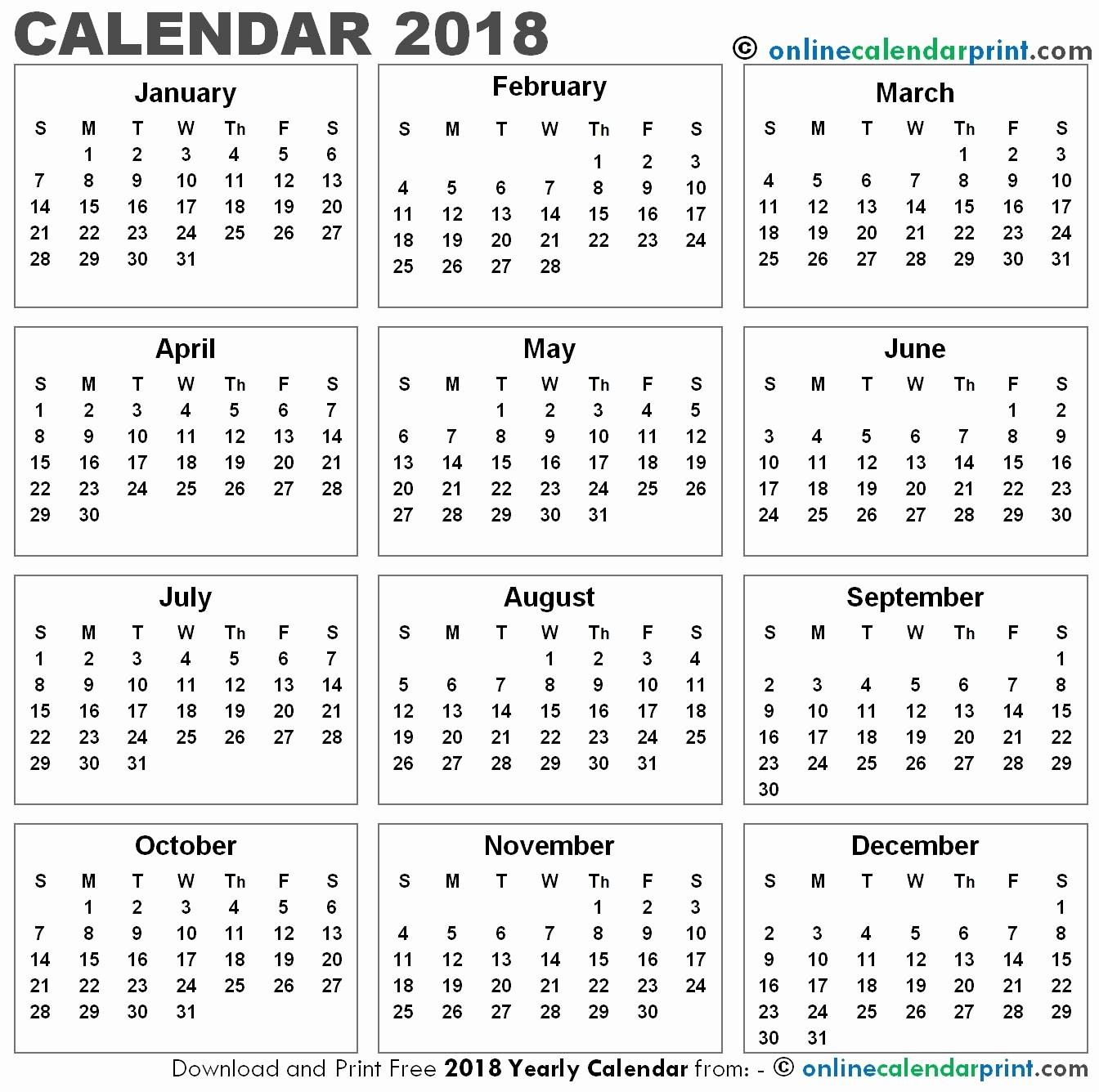 12 Month Printable Calendar 2018 Unique 12 Month Printable Calendar 2018 One Page – Template