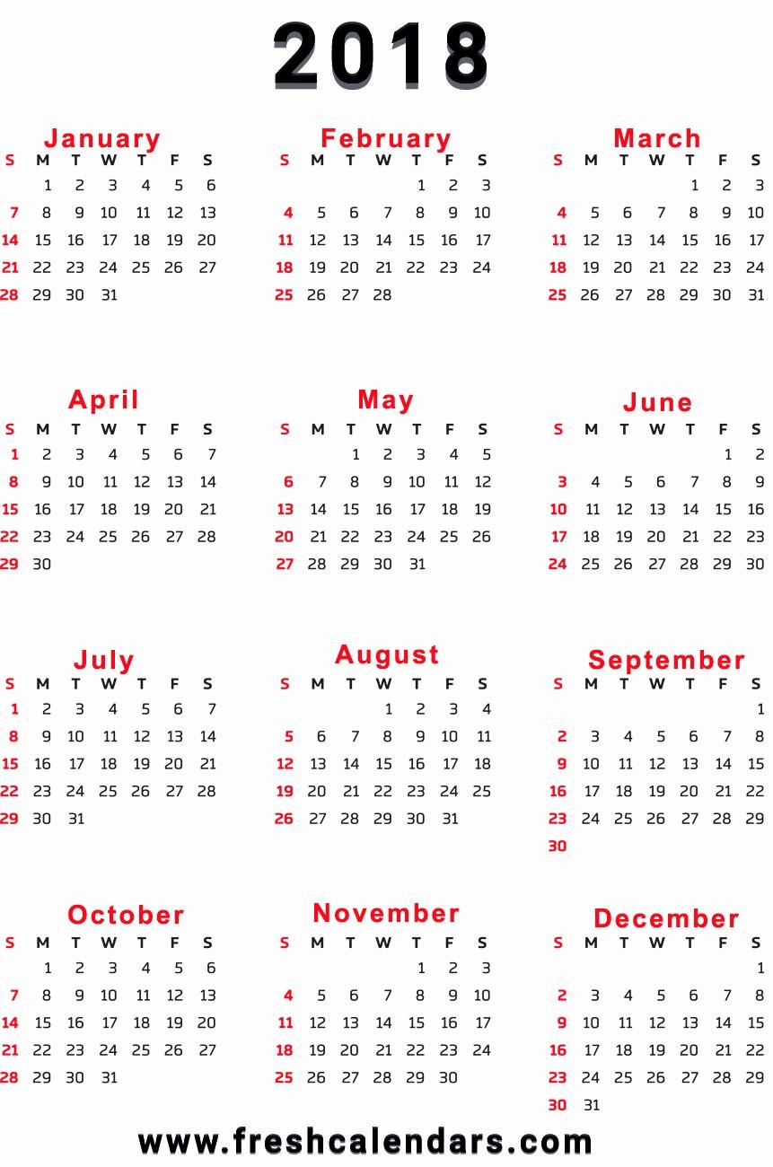12 Month Printable Calendar 2018 Unique 2018 Calendar 12 Months On Onepage Week Starts Sunday