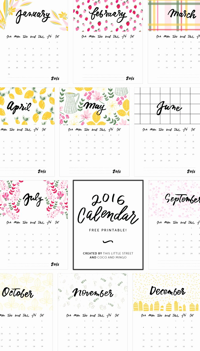 12 Months Calendar 2016 Printable Awesome 2016 Calendars to Print Free No Downloads