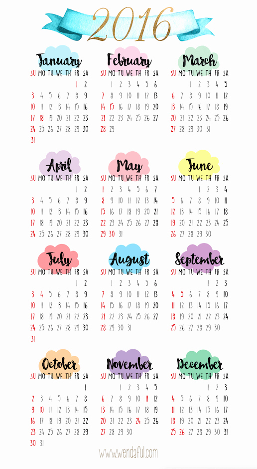 12 Months Calendar 2016 Printable Awesome 2016 Yearly Calendar Printable Drawing Ideas Pinterest 12