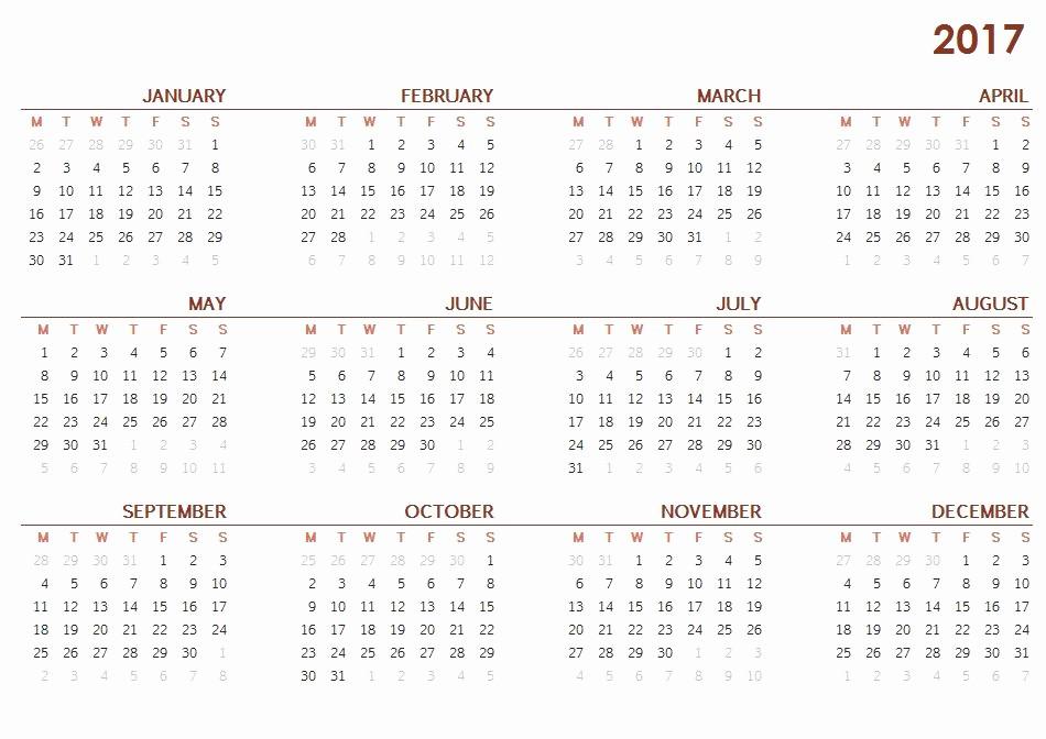 12 Months Calendar 2016 Printable Awesome 2017 Calendar E Page – Printable Calendar Templates