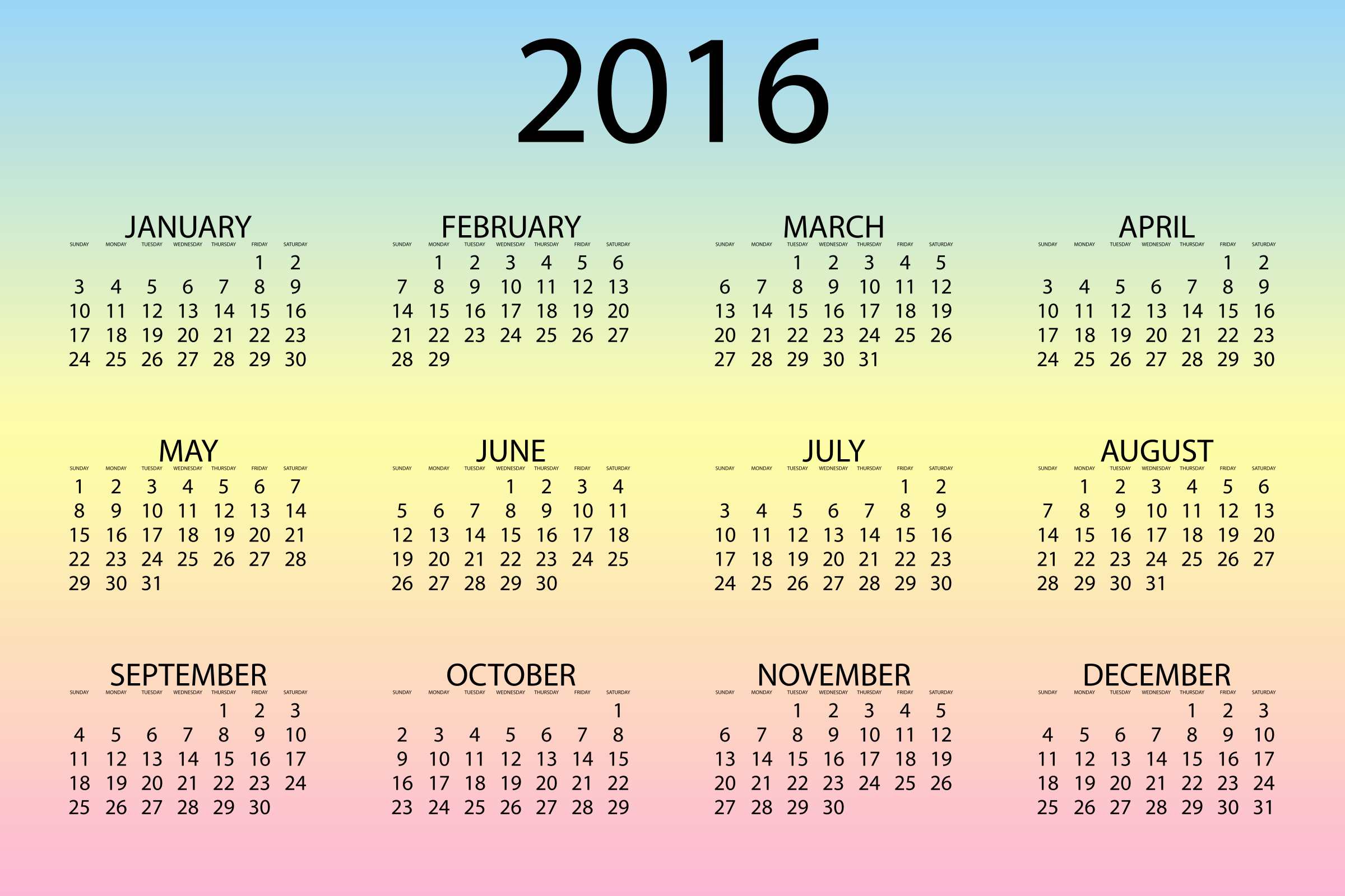 12 Months Calendar 2016 Printable Best Of 2016 Calendar