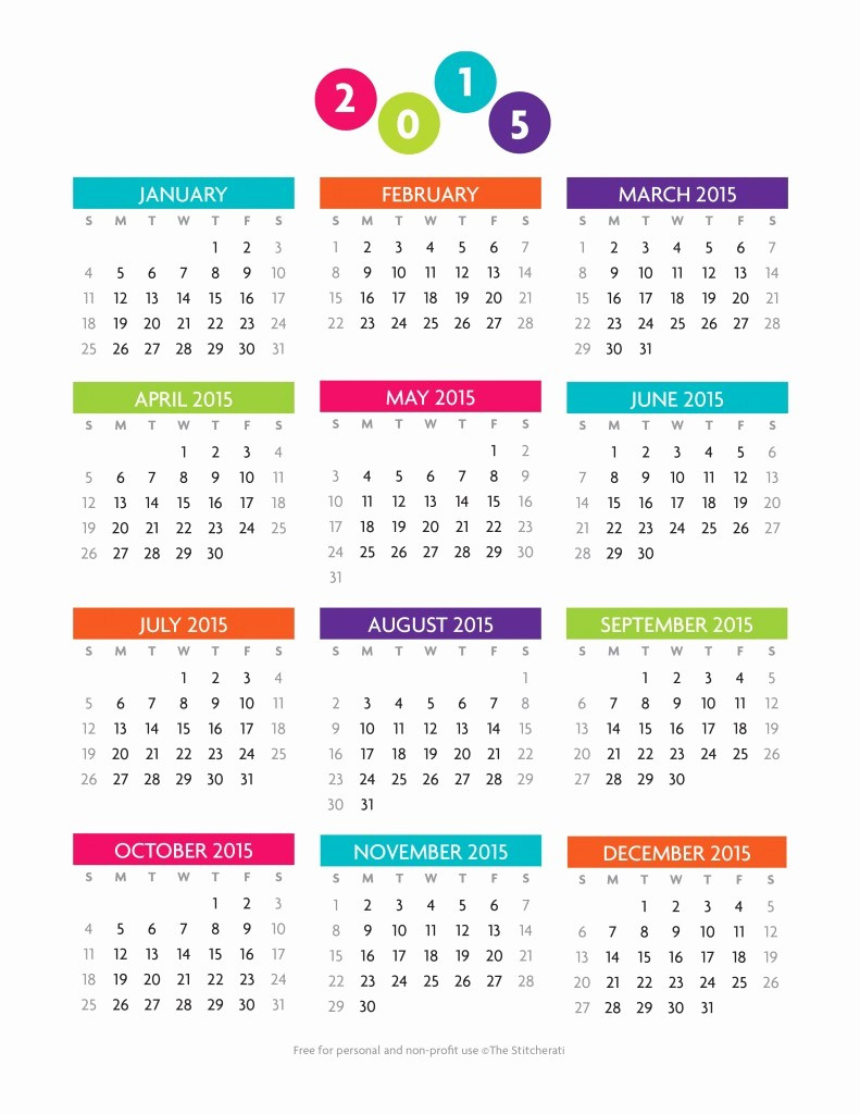 12 Months Calendar 2016 Printable Best Of Printable 2015 12 Month Fice Calendar the