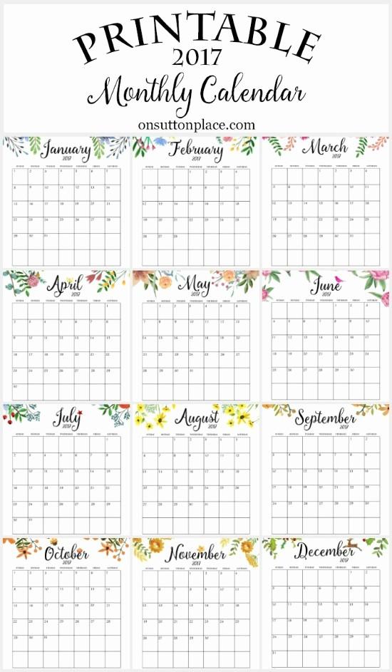 12 Months Calendar 2016 Printable Elegant 17 Free Printable 2017 Calendars the Suburban Mom