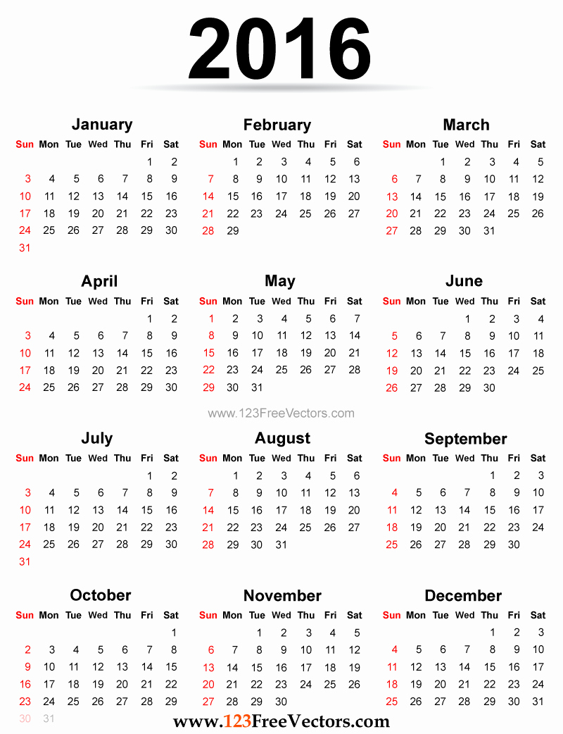 12 Months Calendar 2016 Printable Elegant 2016 Calendar Printable Free