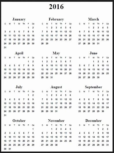 12 Months Calendar 2016 Printable Fresh 12 Months Calendar