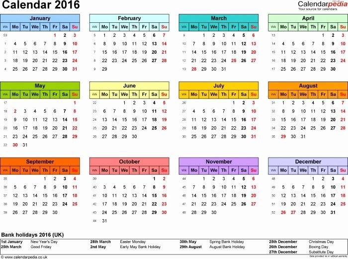 12 Months Calendar 2016 Printable Fresh Calendar 2016 12 Month to Print
